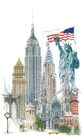 Nueva York de Thea Gouverneur - Ciudades - Kit punto de cruz Kit ...