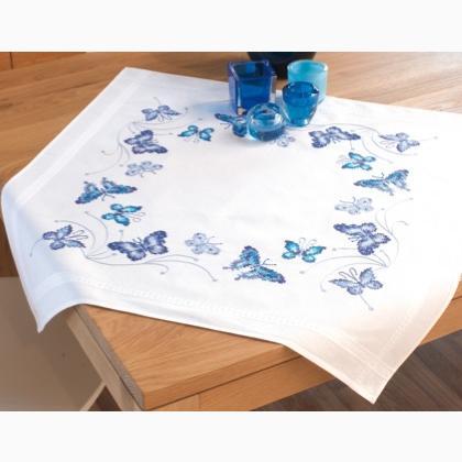 Mantel Mariposas Azul De Vervaco Para La Casa Listo Para Bordar - Manteles-para-bordar