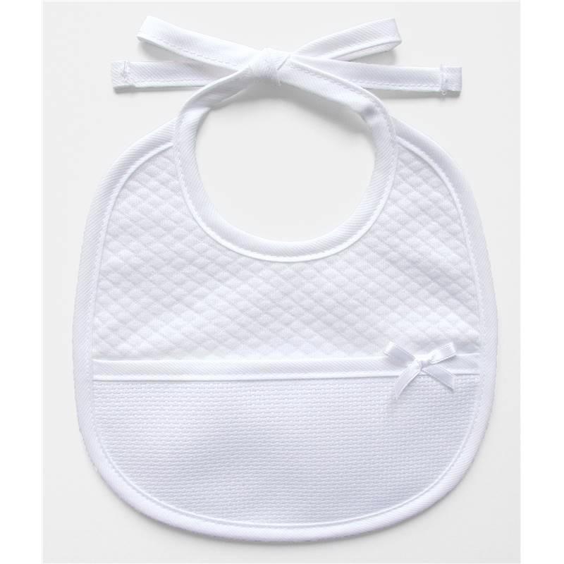 Babero de bautizo - tela blanca con el patrón en relieve de DMC ...